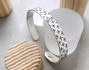 Plus Pattern Cuff / positive vibes bracelet / swiss cross pattern / gold plated brass or sterling silver
