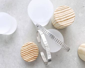 Benchmark Cuff Bracelet / sterling silver / stripe design / line pattern forged metalwork cuff