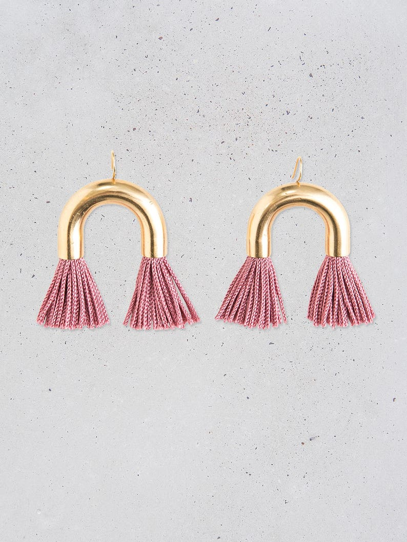 NEW Arch Tassel Statement Earrings  short black fringe  gold tube  fun party jewelry  fashion gift for her