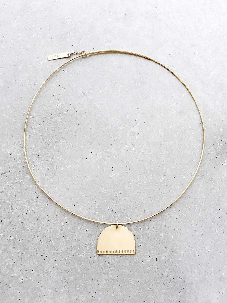 Mound Half Circle Choker  14k gold vermeil architectural collar necklace  half moon pendant