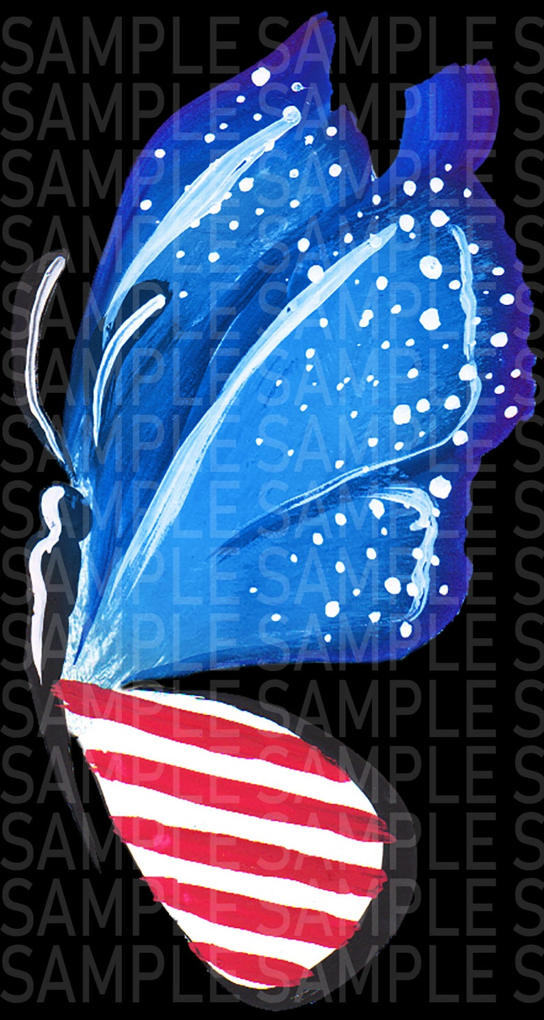 4th of July Patriotic Summer Flag Butterfly Digital Clipart 8 Separate hand  painted clipart Instant download PNG Commercial Use