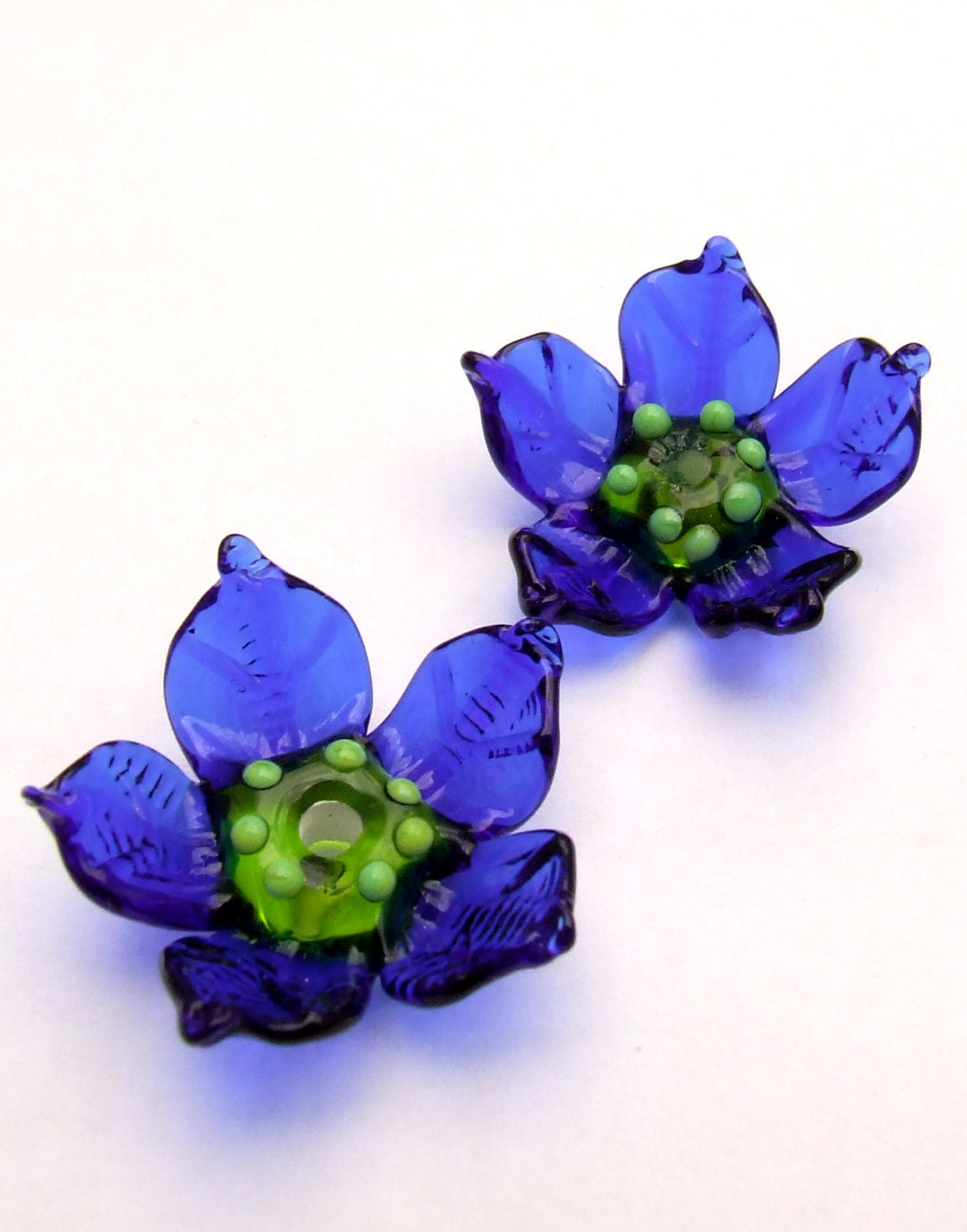 Lampwork Glass Flower Beads For Jewelry Making 2 Cobalt Blue Etsy
