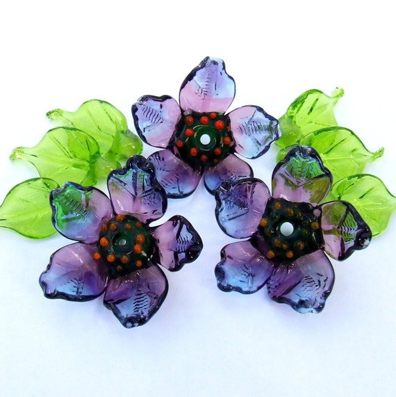Variegated mauve pinkpistachio green shades freeform artisan lampwork glass spacers earrings Set of 21 etc bracelets for necklaces
