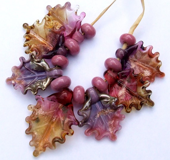 Made to Order purple Lampwork Glass Leaves for Jewelry Making Set of 6 leaf beads in amber gold violet