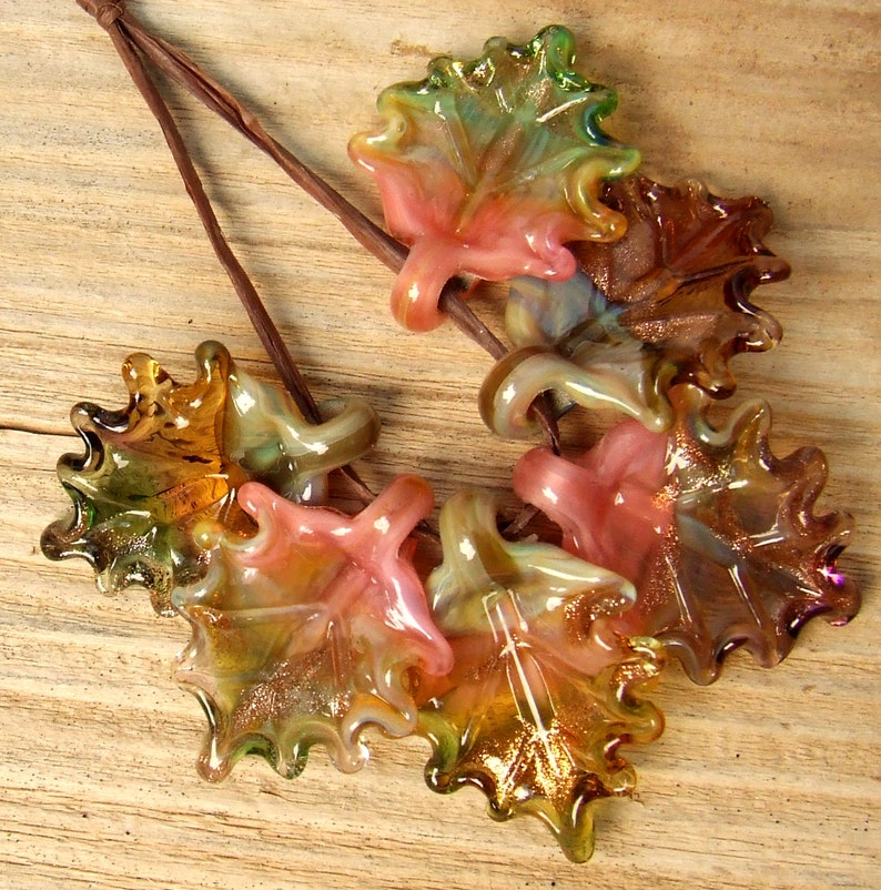 Autumn Leaves Lampwork Glass Leaves for Jewelry Making Made to Order Set of 6 leaves in warm shades