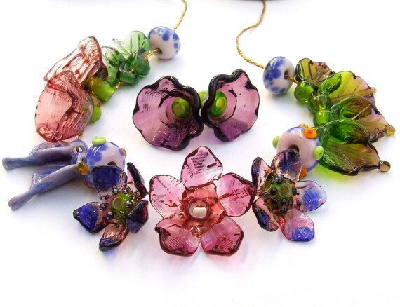 Made to Order Blue and Green Flowers A Romantic Bouquet Lampwork Glass Flower Beads for Jewelry Making Set of 21 Purple Violet