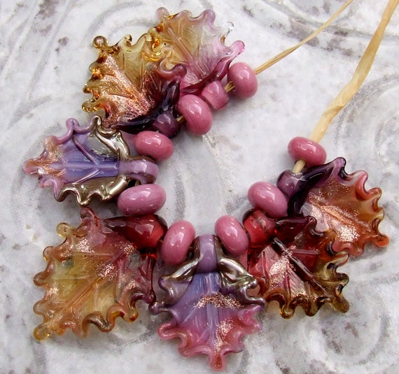 Made to Order Fuchsia and Pink Set of 6 leaf beads in shades of Purple Lampwork Glass Leaves for Jewelry Making