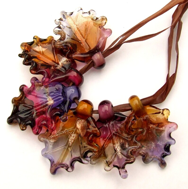 Set of 6 leaf beads in shades of Brown Lampwork Glass Leaves for Jewelry Making Amber and Violet Made to Order