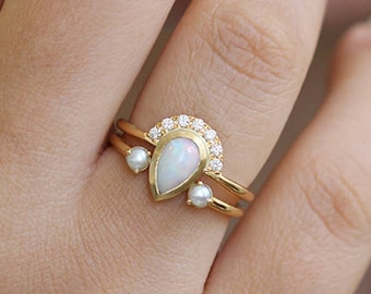 Opal Engagement Ring, White Opal Ring, Opal Diamond Ring, Pear Opal Ring, Pear Cut Engagement Ring, Bohemian Engagement Ring, Alternative