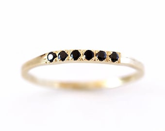 Pave Black Diamond Wedding Band, Thin Diamond Band, Black Diamond Ring, Black Wedding Band, Six Diamonds Band, Modern Wedding Band