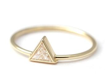 Trillion Diamond Ring, Diamond Engagement Ring, Triangle Diamond Ring, Modern Diamond Ring, Minimalist Engagement Ring, Triangle Ring