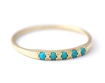 Turquoise Wedding Band, Turquoise Wedding Ring, Gold Turquoise Ring, Thin Turquoise Band, Bohemian Wedding Ring, Pave Turquoise Ring