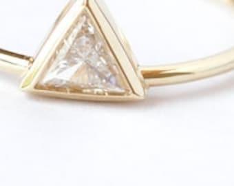 Trillion Diamond Ring, Triangle Diamond Engagement Ring, Bezel Engagement Ring, Simple Engagement Ring, Solitaire Diamond Ring