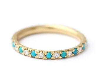 Turquoise Wedding Ring with Diamonds,Turquoise Diamond Eternity Ring,Thin Turquoise Eternity Ring,Dainty Turquoise Ring,Boho Wedding Ring