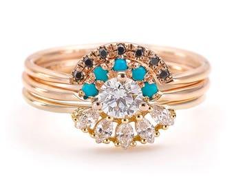Marquise Wedding Ring Set Three Rings Wedding Set Low Etsy