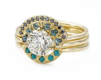 Diamond Turquoise Ring Wedding Ring Set Turquoise Etsy