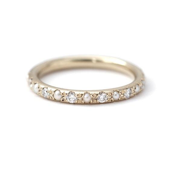 Pearl Wedding Ring Pearl Eternity Ring Diamond & Pearl   Etsy