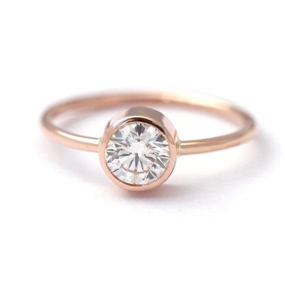 Rose Gold Engagement Ring Solitaire Diamond Ring Round Cut Etsy