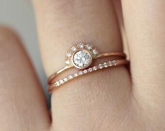 Rose Wedding Set, Diamond Bridal Set,  Bridal Wedding Set, Diamond Wedding Ring, Round Cut Diamond Ring, Rose Gold Engagement Ring, 18k Gold