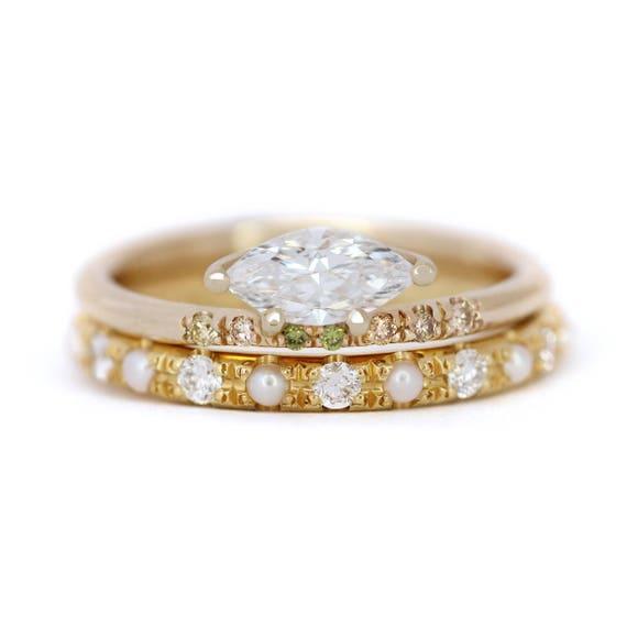 Marquise Diamond Wedding Ring Set Pearl Bridal Ring Set Etsy