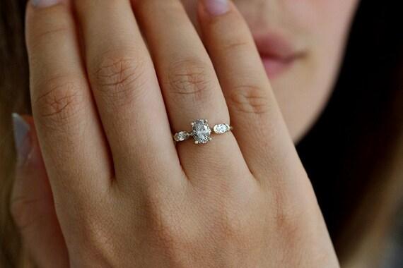 Ovale Diamant Ring Alternative Verlobungsring Oval Etsy