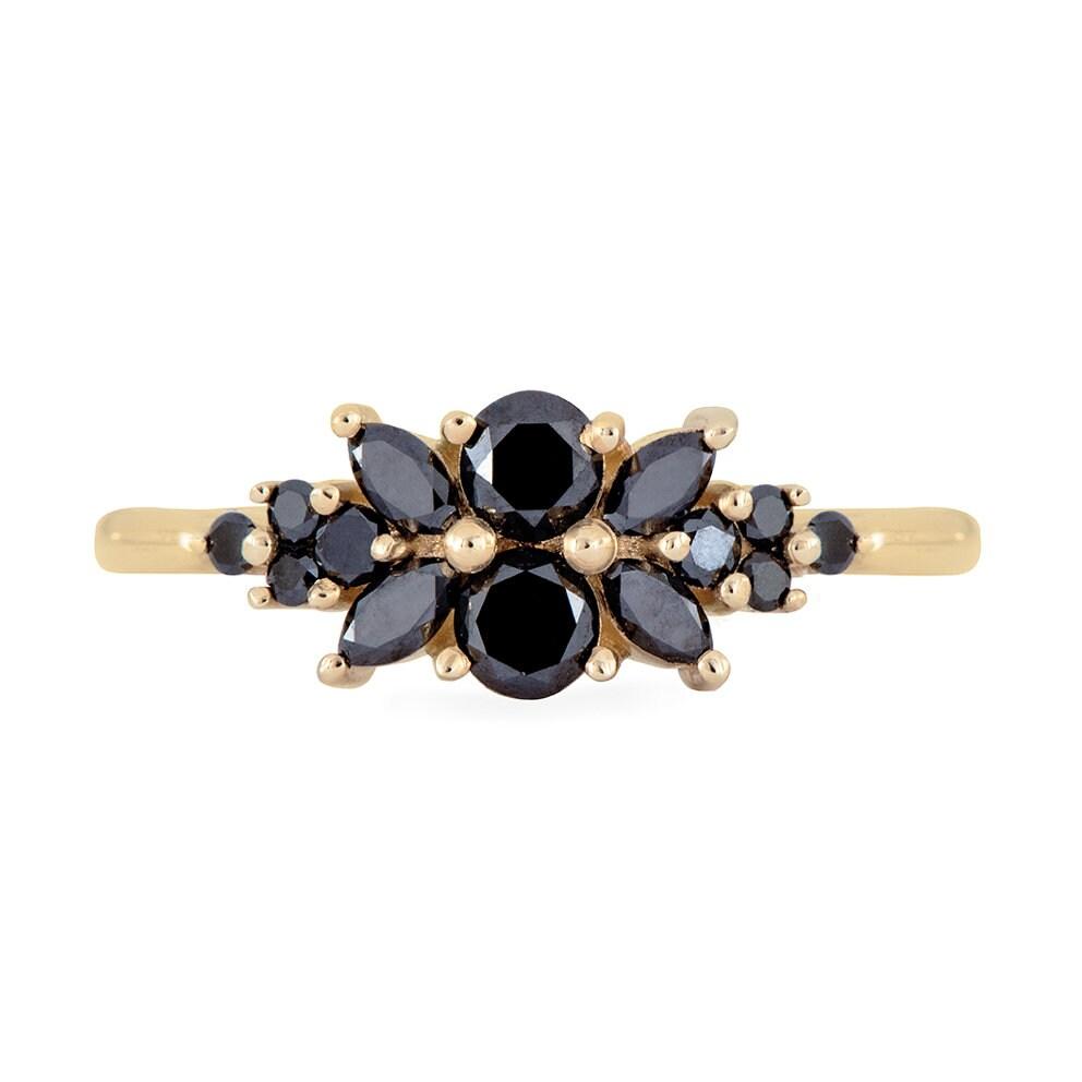 5e85ed1d30428 Black Diamond Flora Engagement Ring   Etsy