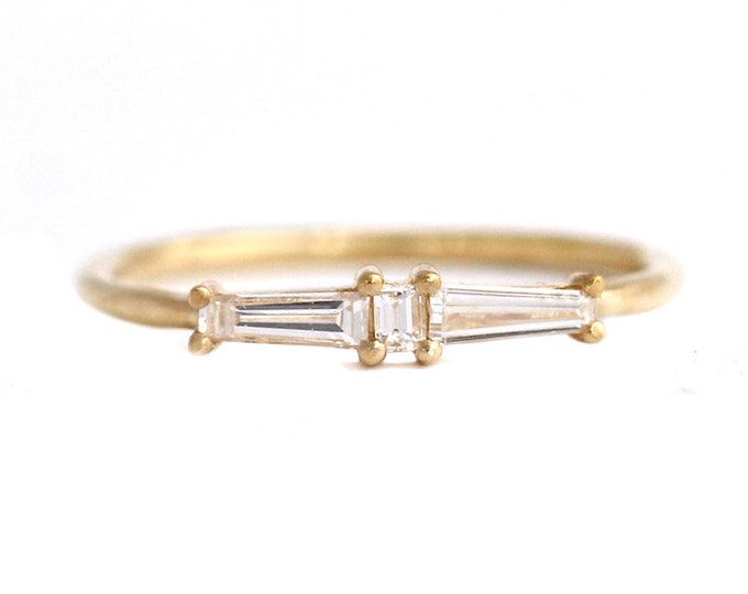 Diamond Cluster Ring, Art Deco Diamond Wedding Band, Vintage Engagement Ring, Unique Engagement Ring, Minimalist Geometric Wedding Ring