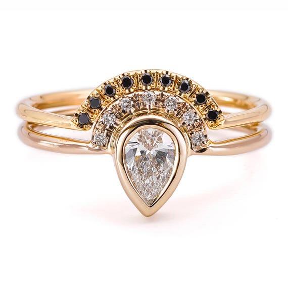Ensemble De Bague De Mariage Diamant Poire Poire Diamant Bague Bague De Diamant De Couronne Poire Coupe Ensemble 0 3 Carat Bague En Diamant Poire