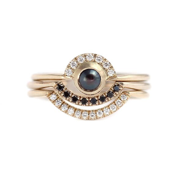 Pearl Wedding Ring Set Boho Ring Set Diamond Pearl   Etsy