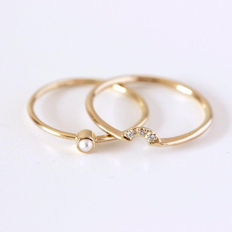 Pearl Wedding Rings.Wedding Ring Set Pearl Wedding Ring Seed Pearl Ring Dainty Pearl Ring Diamond Pearl Engagement Ring Gold Pearl Ring Thin Dainty Rings