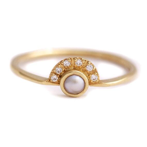 Perle Verlobungsring Gold Perle Ring Diamant Perle Ring Etsy