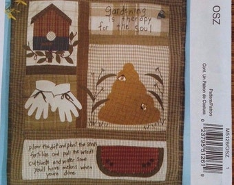 McCall's Crafts Summer Wall Hanging or Quilt Block 18 x 21 Uncut Cheryl Haynes Sewing Pattern Bee Hive Gardening Birdhouse Watermelon