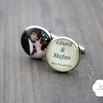 Cuff buttons with text and photo for wedding