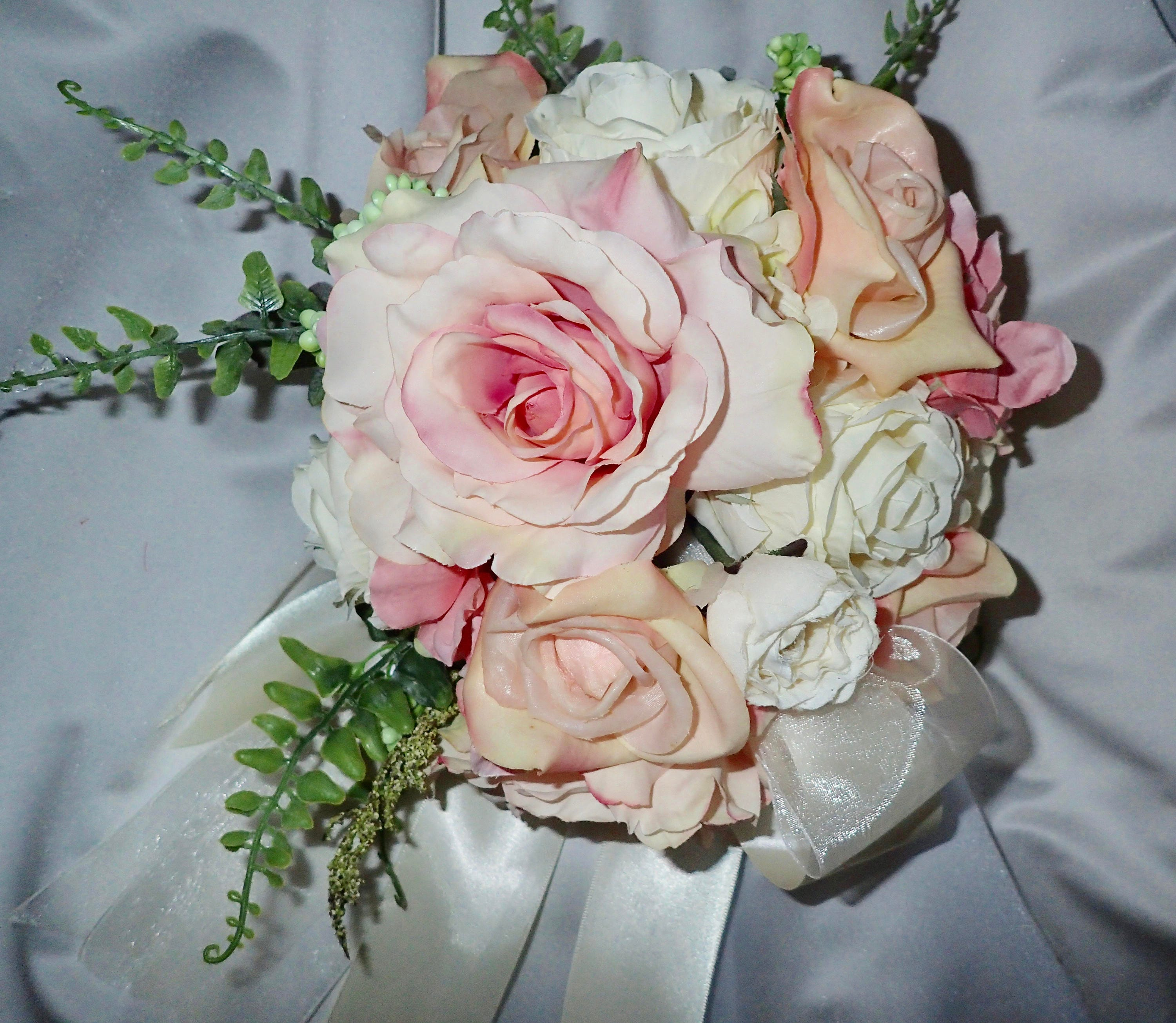 Bride Wedding Bouquet Round Pink And Ivory Roses And Hydrangea Etsy