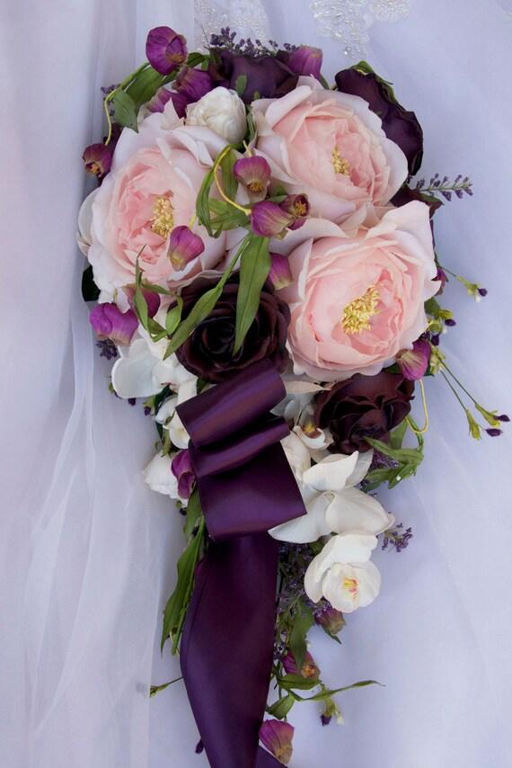 Mariage Bouquet De Mariee Cascade Set Chou Rose Orchidee Rose Pourpre Ivoire 12 Pieces