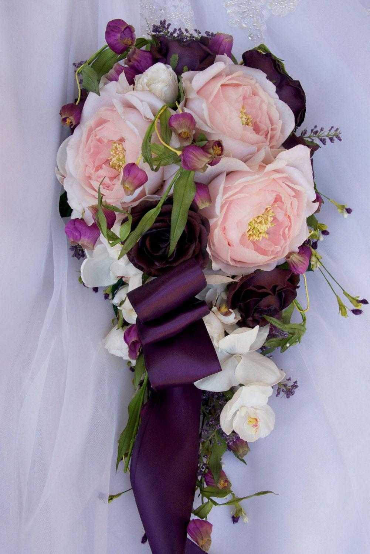 mariage bouquet de mariée cascade set chou rose orchidée rose | etsy