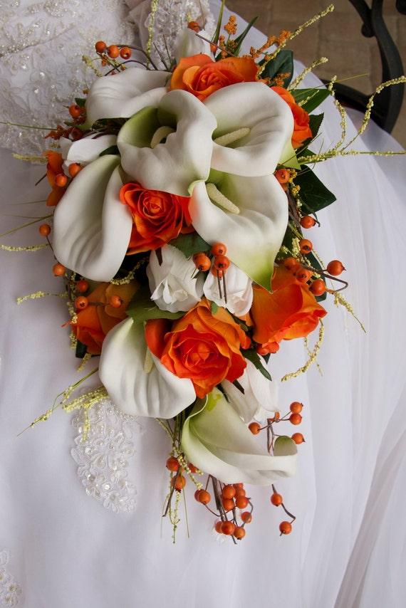 Bride cascade wedding bouquet set orange white calla lily etsy image 0 mightylinksfo