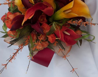 Fall Bride Wedding Bouquet Package in Red and Orange with Calla Lily