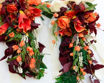 9 Fall Pew Bows in Orange and Red with Ivory Ribbon Orange Roses Red Lilies with Orange Calla Lily