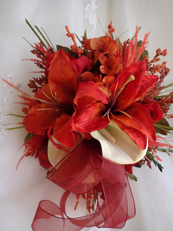 Maid Of Honor Bouquet Rust And Deep Red With Calla Lilies 1 Etsy