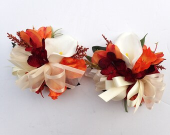 Fall Corsages Calla Lily with orange 7 Pieces