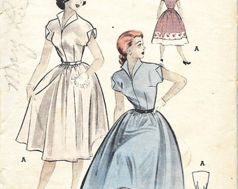 1950's Butterick 6363 Quick And Easy Teenage Dirndl Dress Sewing Pattern, Misses/Junior Size 14, Bust 32