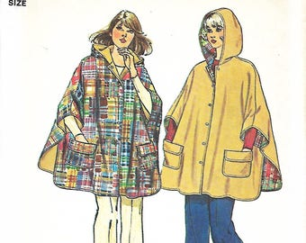 1970s Misses Jiffy Reversible Hooded Poncho Sewing Pattern, One Size, UNCUT