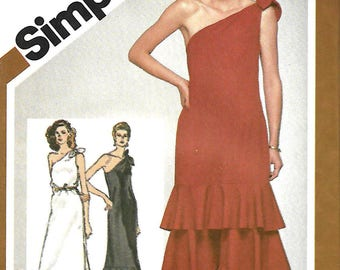 Simplicity 9804 Sewing Pattern, Misses Slim Fitting One Shoulder Dress In Two Lengths With Skirt Variations, Sizes 10 & 12, UNCUT