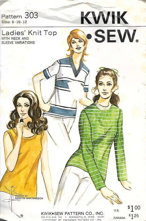 Kwik Sew 303 Ladies Knit Top Pattern Neck And Sleeve Etsy