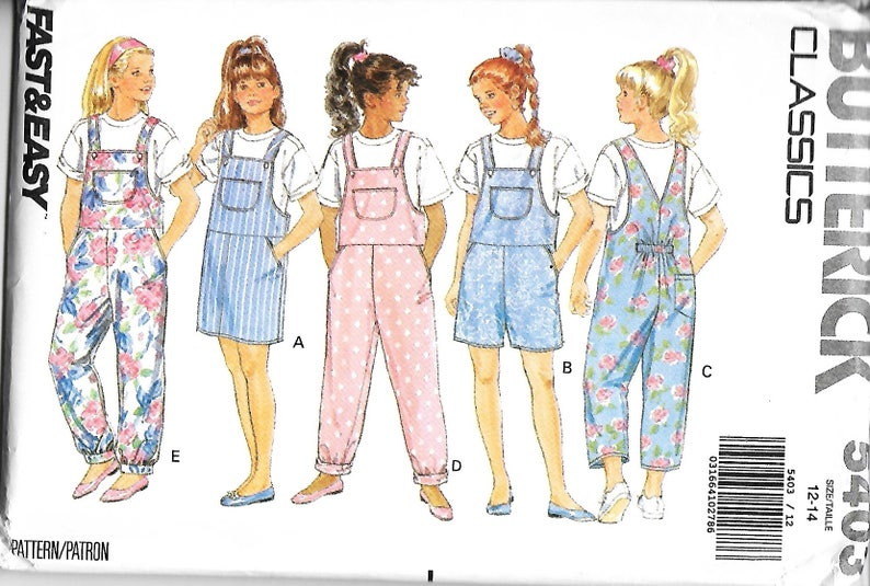 4dc95aa0c77 Butterick 5403 Girls Jumper Jumpsuit And Top Sewing Pattern