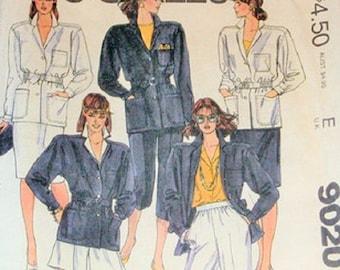 McCall's 9020 Misses Jacket, Skirt, Shorts, Pants & Cropped Pants Pattern , Size 8, UNCUT