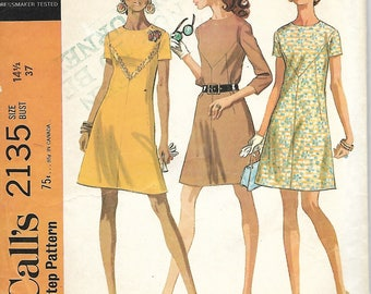 1960's McCall's 2135 Misses Half Size Dress In Three Versions Sewing Pattern, Size 14 1/2