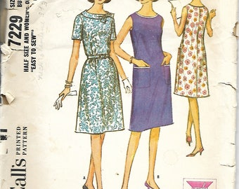 Vntg McCall's 7229 Misses Half Size French Darted Dress Pattern, Size 16 1/2, Bust 37