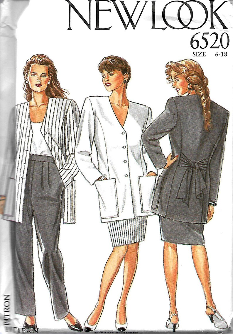 505804def0b New Look 6520 Misses Suit Pattern Tied Back Jacket Straight